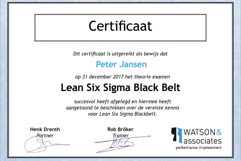 Lean Six Sigma Blackbelt examen (BB20)