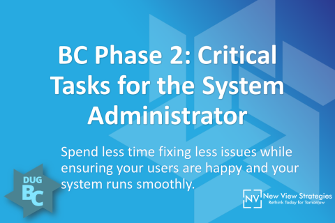 BC Phase 2: Critical Tasks for the System Administrator