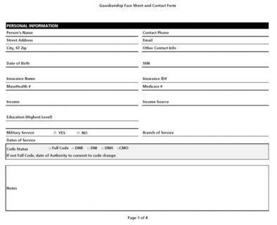 Guardianship Face Sheet + Contact Record