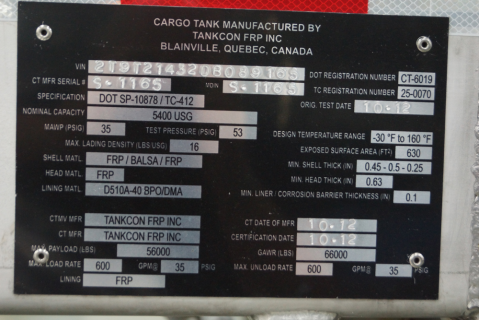 Reading a Tank Truck Specification Plate (ML-CNTT-10)