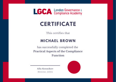 Practical Aspects of the Compliance Function (PACFH120)