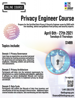 *Postponed until Fall 2021* Certified Data Privacy Solutions Engineer (CDPSE) Prep Course (PE01)