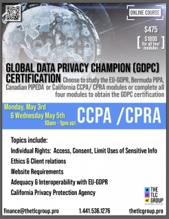 Global Data Privacy Champion- CCPA/CPRA (GDPC4)