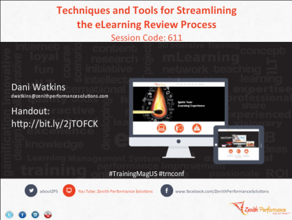 Techniques and Tools for Streamlining the eLearning Review Process (CONF006)